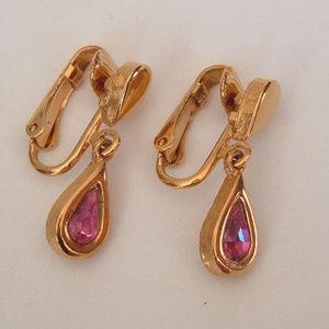 Avon Purple Austrian Glass Teardrop Clip Earrings